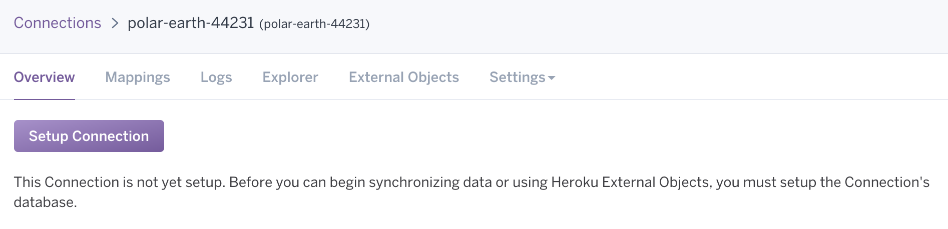 screenshot of heroku connect dashboard