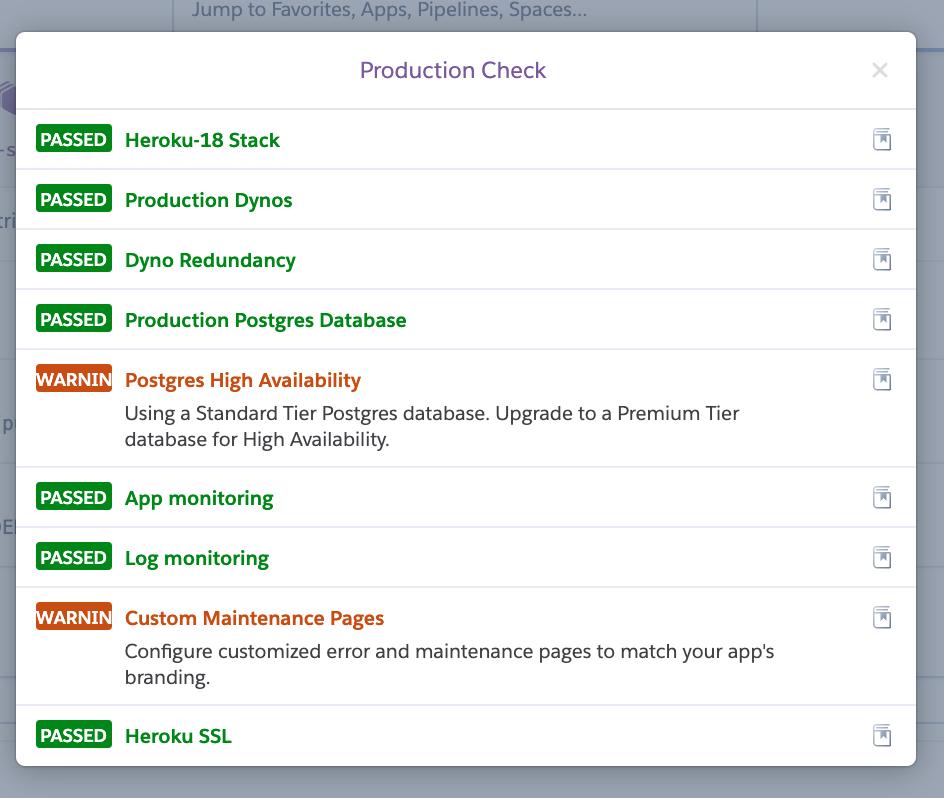 Production Check screenshot