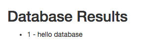 Database results are 1 hello database