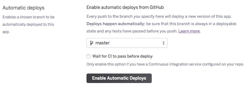 Enable automatic deploys screenshot