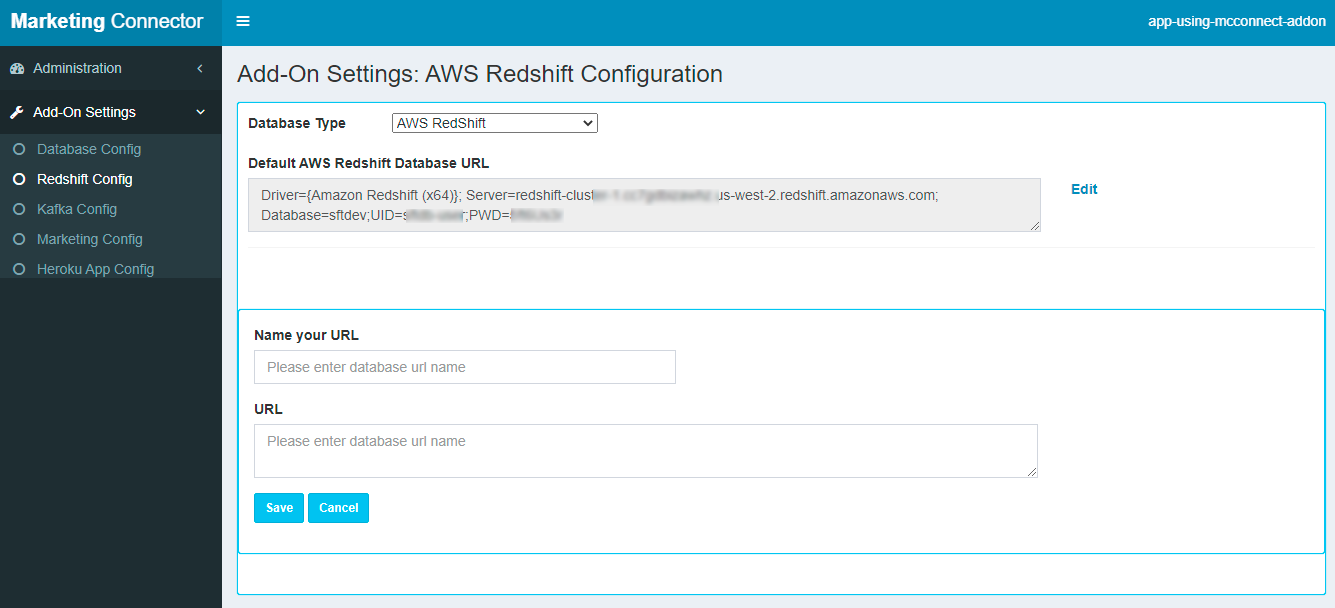 Settings Tab-Redshift Config Add