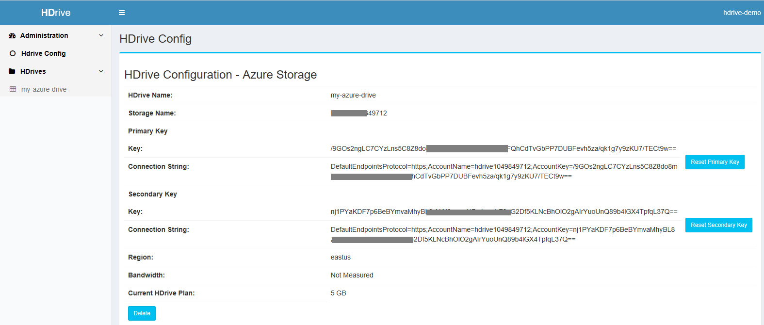 Azure HDrive config