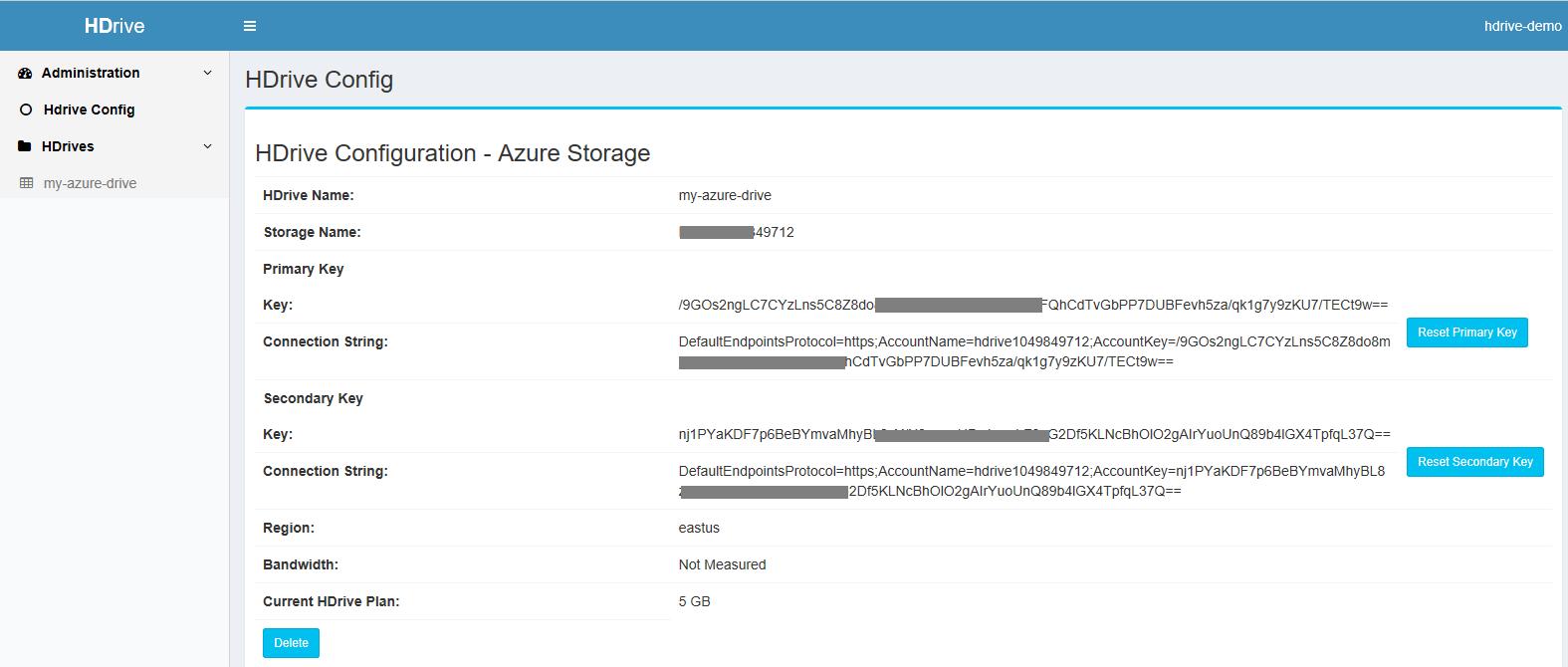Azure HDrive config