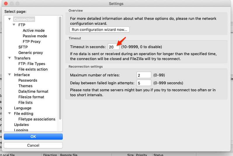 Filezilla settings screenshot