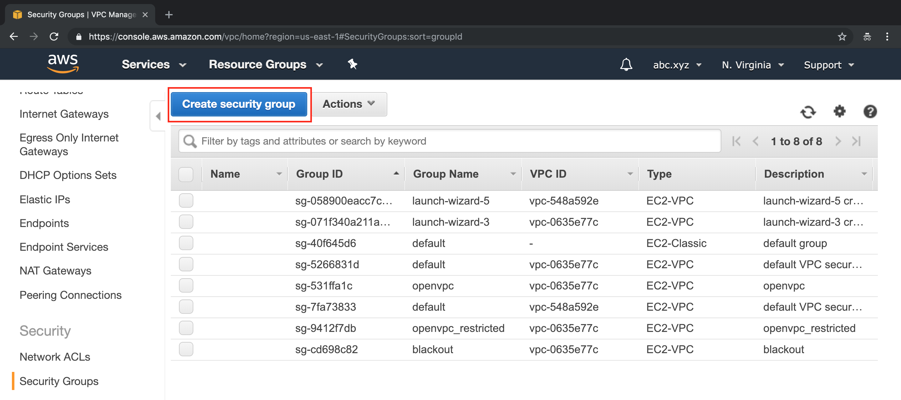 A screen capture showing the Create security group window on the AWS Console